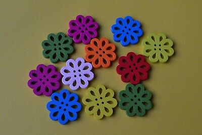 11 FLOWERS WOODEN Embellishments Scrapbooking Craft Buttons Earrings Cute Bright