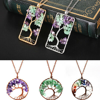 Natural Amethyst Rose Quartz Chip Beads Chakra Tree of Life Pendant For Necklace