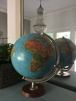 Vintage World Globe on Timber Stand Made in USA