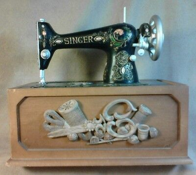 "Vintage ""  Singer "" Sewing Accessory Box  Replica Singer Machine On Sliding Top"