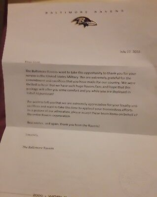 Military letter from Baltimore Ravens Thanking For Your Afghanistan Service RARE