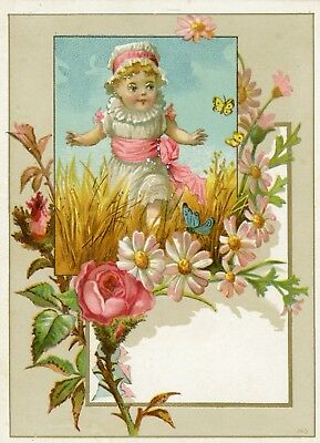 """Antique Victorian Single Panel Greeting Card 4"""" X 5.5"""" W/ Young Child"""