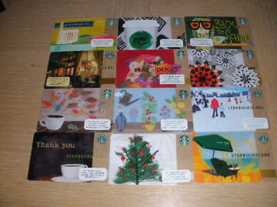 Starbucks  U. S. A.   12 different new and used collectible gift cards