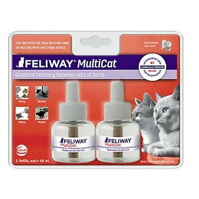 Feliway MULTICAT Diffuser - SET OF (3) 48 mL 30 Day Refills - 90 days EXP 09/20!