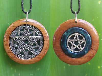 Pentacle Double Sided Pendant made from wood and resin,Wiccan Jewelry,Witchcraft