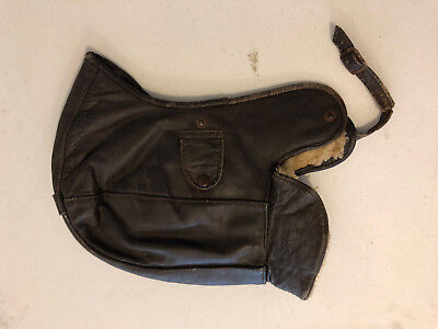 Vintage Motorcycle Leather Hat with Sheepskin Lining, Harley, BSA