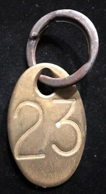Vintage Large Oval Brass Number 23 Cattle Tag & Ring