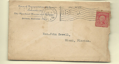 1908 Us 60Th Congress Letter With Stamped Envelope Frank Clark To John Sewell