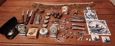 Old Junk Drawer Lot Old knives Case XX Old Jewelry, Christmas bells, Tile, Mold