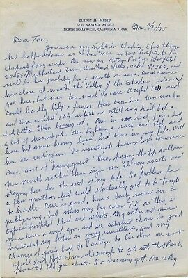 Burt Mustin Handwritten Letter Signed The Andy Griffith Show Rare Autograph!