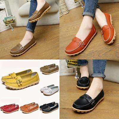 NEW Leather Flat Shoes Slip on Walking Shoes Casual Loafers  Women Fashion