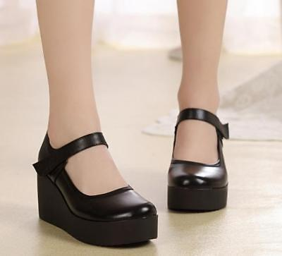 4c4a874272b Womens Round Toe Mary Jane Leather Black Nurse High Wedge Heel comfort Shoes
