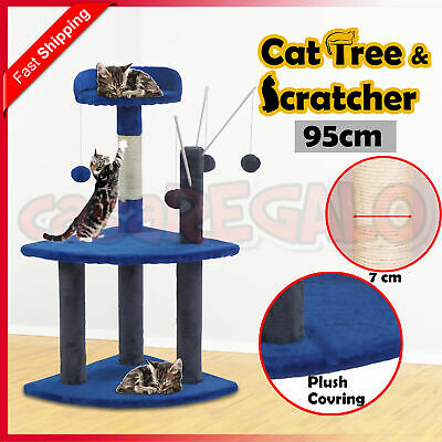 Cat Scratching Tree Post Sisal Pole Condo Toy Furniture Multi level 95cm