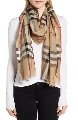 Burberry Lightweight Wool And Silk Check Scarf Camel Check $398+