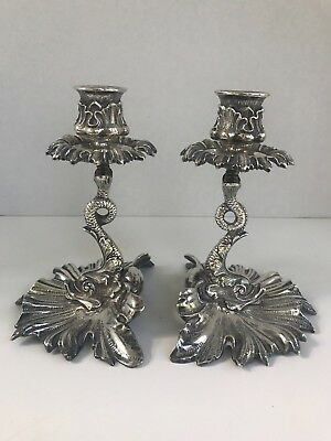 Vintage Silverplate Dolphin Candleholders- a pair