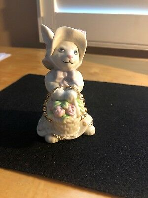 Limited Edition-  2003 LENOX  Bunny Holding A Basket Of Flowers.  Retired