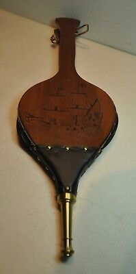 Fire Bellows Vintage Leather Air Blower Wood Fireplace with Sail Ship Carving