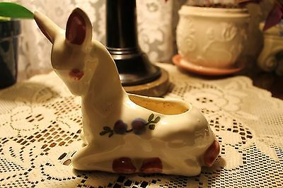 Vintage Shawnee Pottery Pink Green Color Deer Fawn Planter