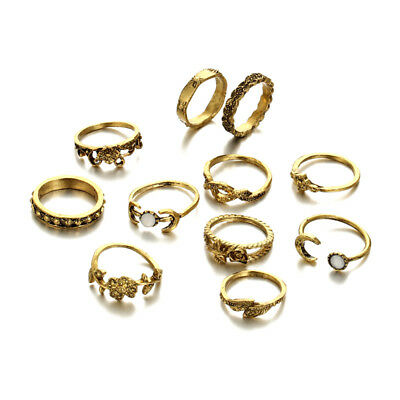 11pcs/Set Vintage Punk Antique Moon Leaf Flower Carved Finger Rings Jewelry
