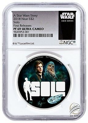 2018 Niue HAN SOLO Star Wars Story 1oz Silver $2 NGC PF69 UCAM First Releases