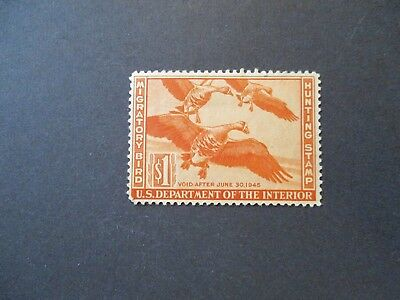 1944 US S# RW 11, $1.00 White-Fronted Geese Duck Duck Stamp, MH OG Disturbed