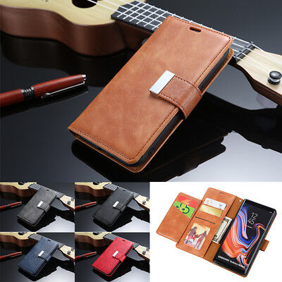 Retro Leather Magnetic Wallet Card Case Stand Cover For Samsung Galaxy Phones