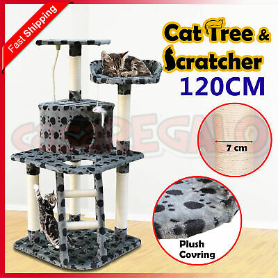 Cat Scratching Tree Post Sisal Pole Condo Toy Furniture Multi level 120cm