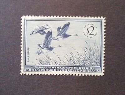 1955 US S# RW 22, $2.00 Blue Geese Duck Stamp, MH OG Pleasant
