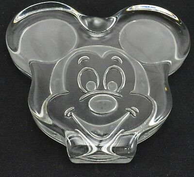 Vintage Disney Mickey Mouse Paperweight Glass Desk Art Display Collectible