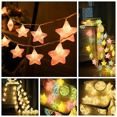 10/20LED Crack Star Fairy String Lights Christmas Tree New Year Party Home Decor