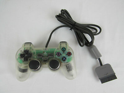 Sony PlayStation 1 PS1 Dual Shock Analog Controller Clear SCPH-1200 Tested