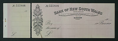 'bank Of New South Wales' Bank Cheque - Burwood, Nsw  **unused**