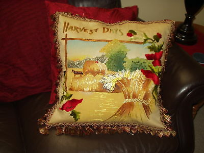 Antique Royal Society Hand Embroidered POPPIES & WHEAT Harvest Days Pillow Cover