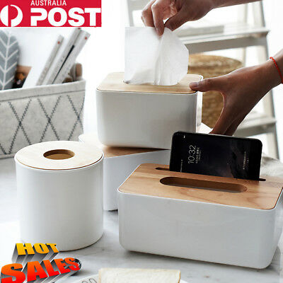 New Tissue Box  Wooden Cover Paper Storage Holder Napkin Case Organizer Au Post