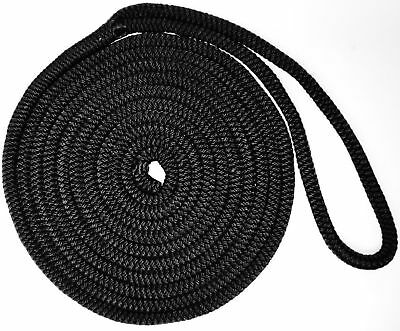 7.5m x 10mm Mooring Dock Line Rope - Soft Black Polyester Nylon Anchor Winch