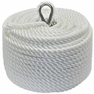 Nylon 3 Strand Twisted Anchor Line 10mm x 45m White