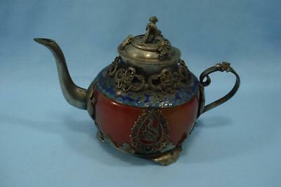 Vintage Teapot Onyx Center Cloisonne Top With Snakes, Frogs & Monkey