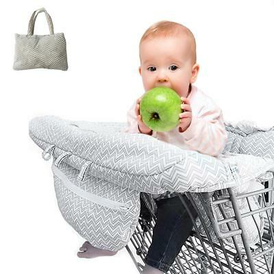 2in1 100% Cotton Shopping Cart Cover and High Chair Universal Fit Ultra Plush