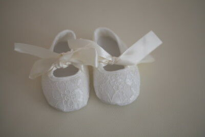NEW Baby Girl Ivory Lace Christening Pre-walker Shoes 0-18 months Size 1.2.3.4.5