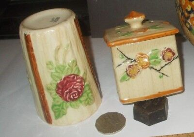 lidded Sugar Jar & Beaker, Hand Painted Japan Export ware 1930-40 both undamaged