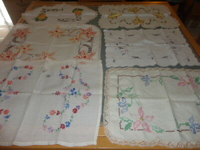 Vintage  Doilies doiley table tray cloths embroided crochet edge  lot 1
