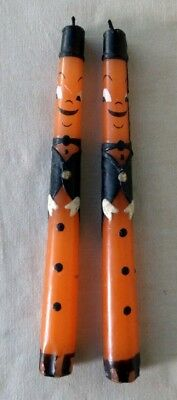 Pair of VTG Halloween Candles - Orange & Black Dudes w/ Top Hats - Lightly Used