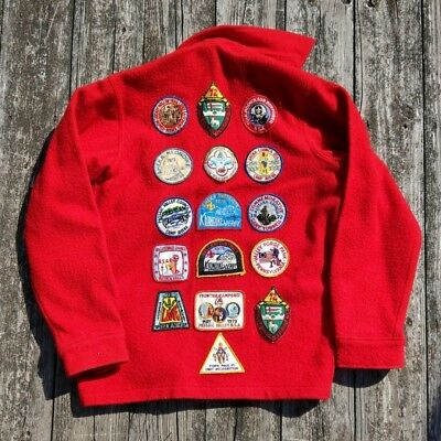 VTG BSA Boys Scouts Offical Red Wool Jacket w/ 18 Early 1970s Patches NJ NY PA