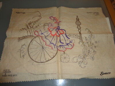 Vintage Semco 730 Embroidery centre tray cloth lady on penny farthing to finish