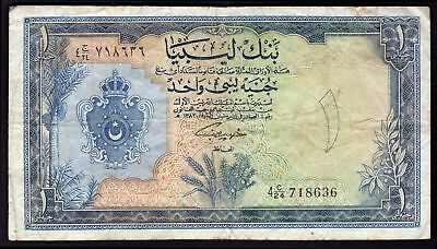 Libya: Bank Of Libya. 1 pound. (1963). 4 C/24 718636. (Pick 25a). GF.