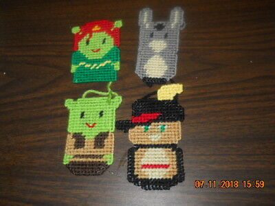 HANDMADE PLASTIC CANVAS Shrek CHRISTMAS ORNAMENTS SET OF FOUR