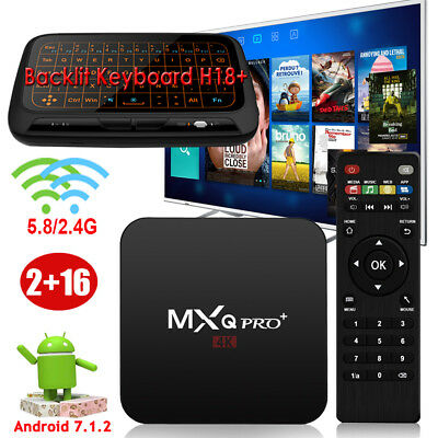 2+16GB MXQPRO+ Android 7.1.2 Quad core S905X TV BOX 5.8G WIFI 4K+Keyboard H18+