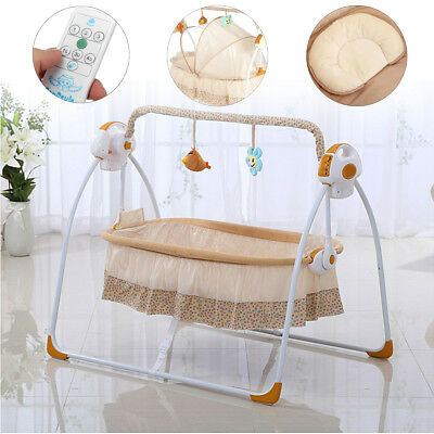 Electric Kids Baby Crib Cradle Infant Rocker Auto-Swing Sleep Bed +Mesh Curtain