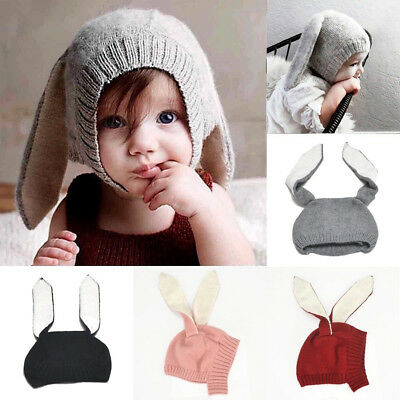 Winter Baby Toddler Kids Boy Girl Knitted Cap Long Rabbit Ears Warm Hat Funny