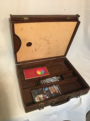 Vintage Old Wood Traveling Artist Handled Carry Case Suitcase + Drawing Tools